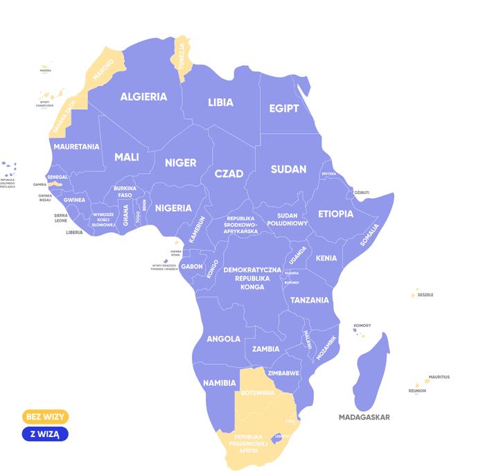 Afryka mapa polityczna - kraje z wizami dla Polaków